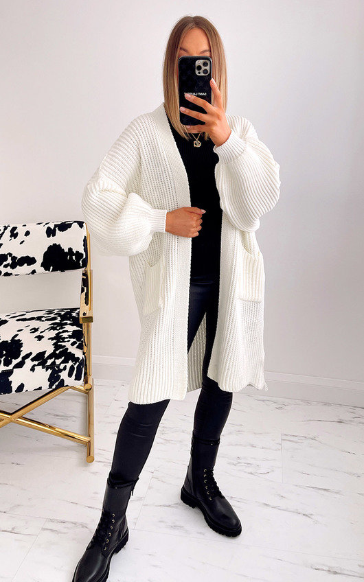 Rebecca Longline Knitted Cardigan with Balloon Sleeves