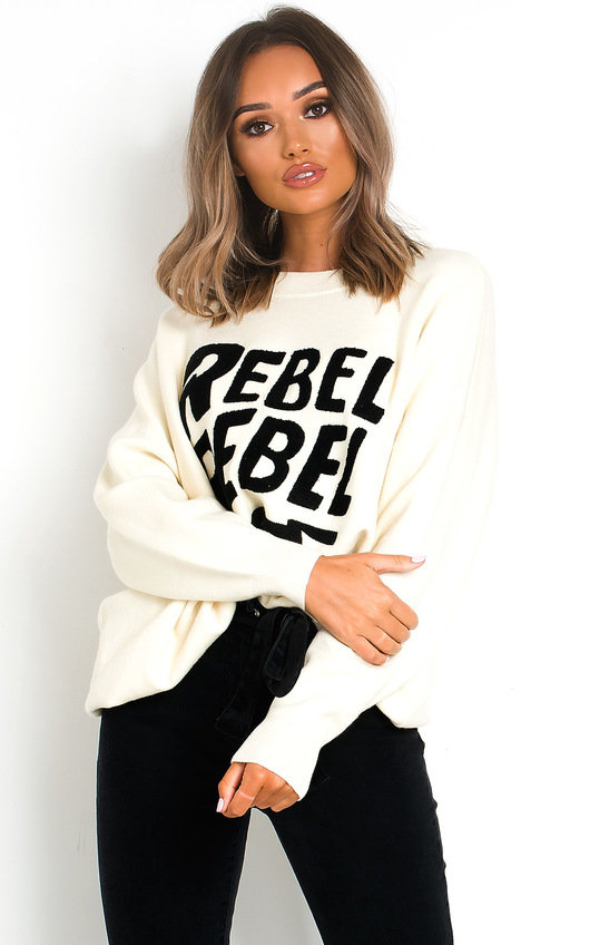 Rebel Slogan Knitted Jumper