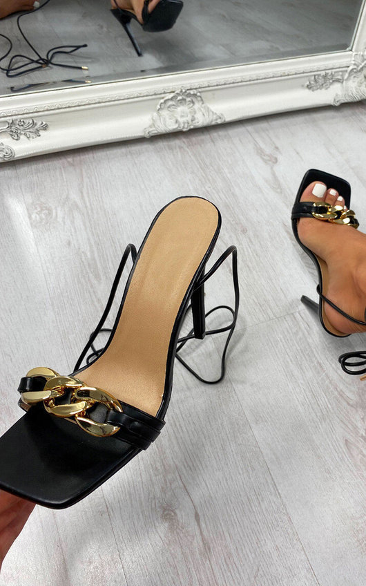Reeva Chain Detail Lace Up Heels