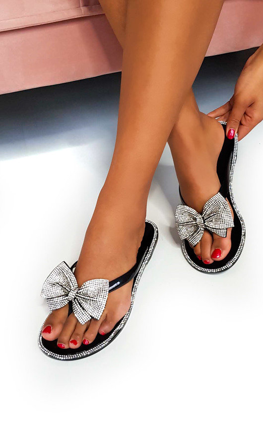 Regina Diamante Bow Flip Flop Sandals