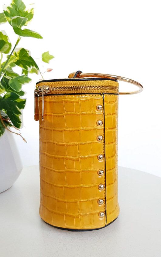 Ren Cylinder Croc Print Clutch Bag