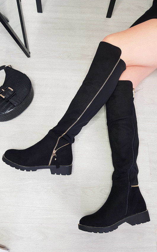 Renata Knee High Zip Detail Boots