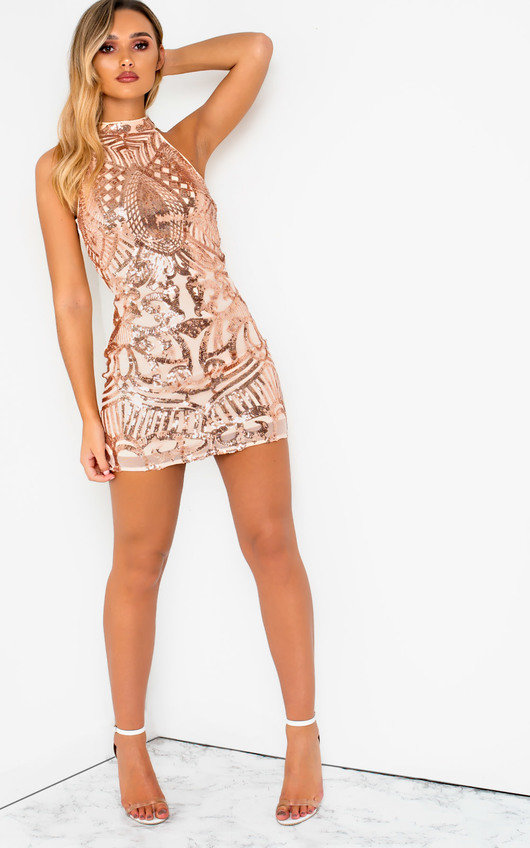 Rendal Halterneck Sequin Mini Dress