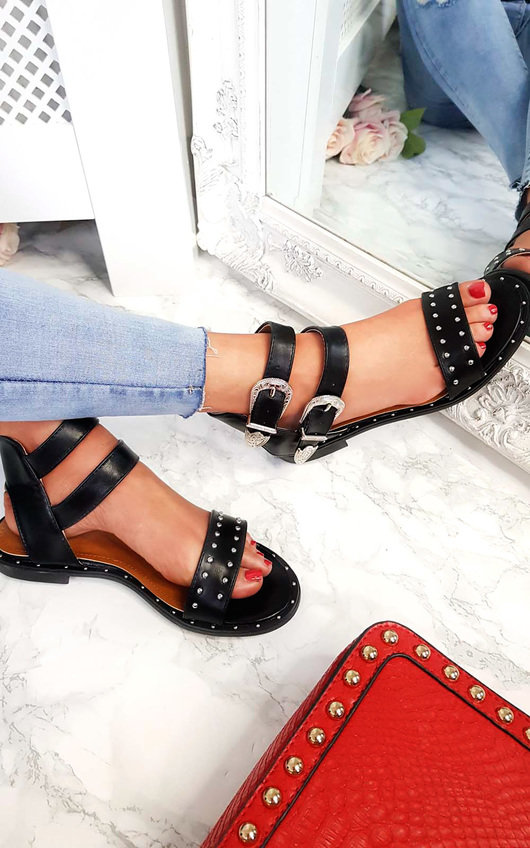 Renesme Double Strap Studded Sandals