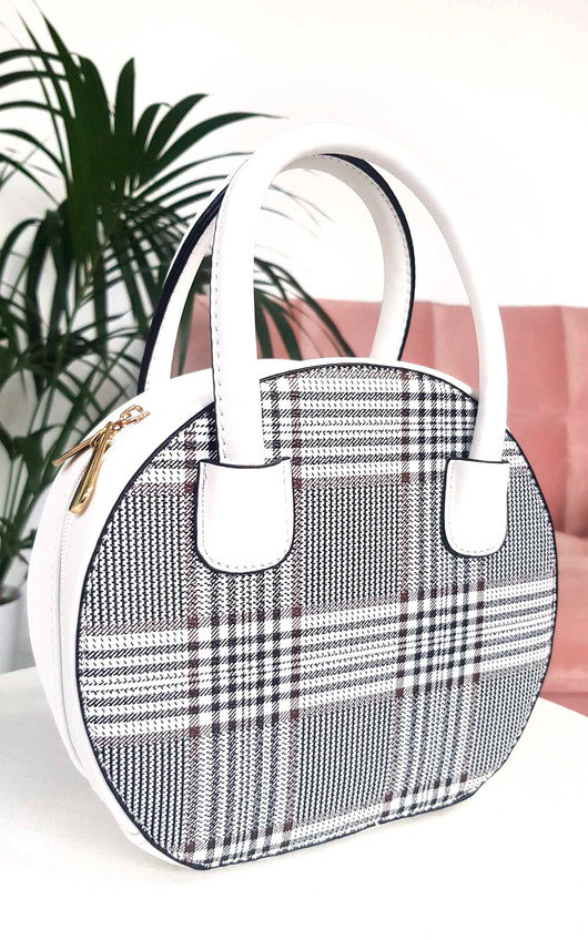 Rhanee Check Circle Handbag