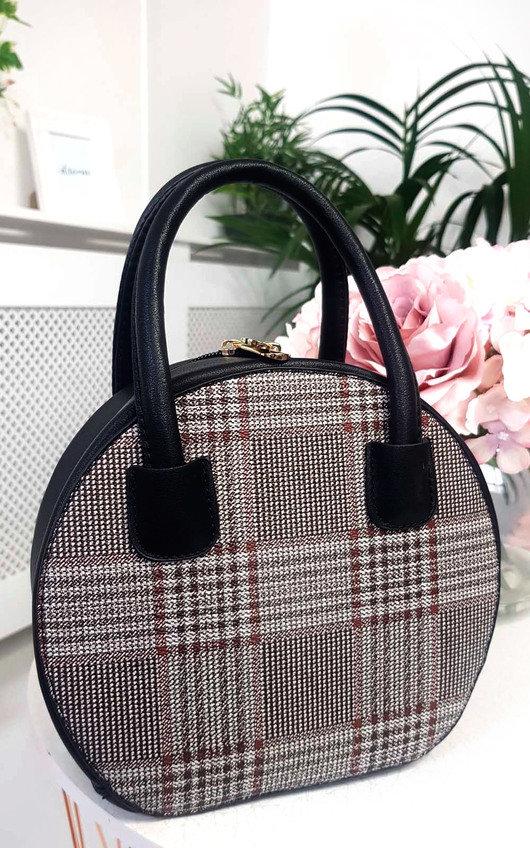 Rhanee Check Circle Handbag