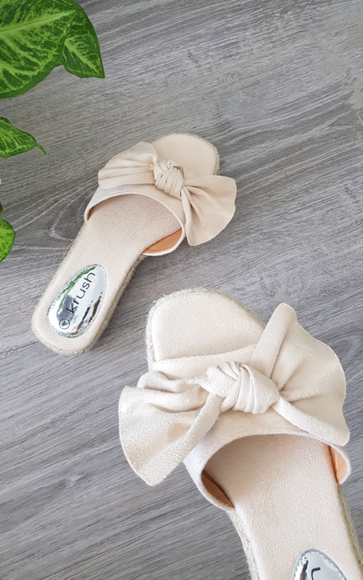 Rhia Faux Suede Bow Sandals