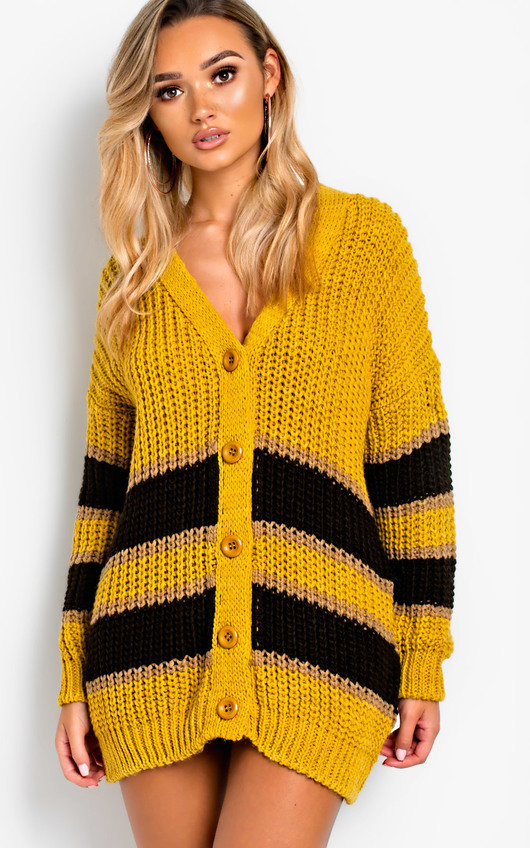 Rhianne Chunky Knit Striped Cardigan