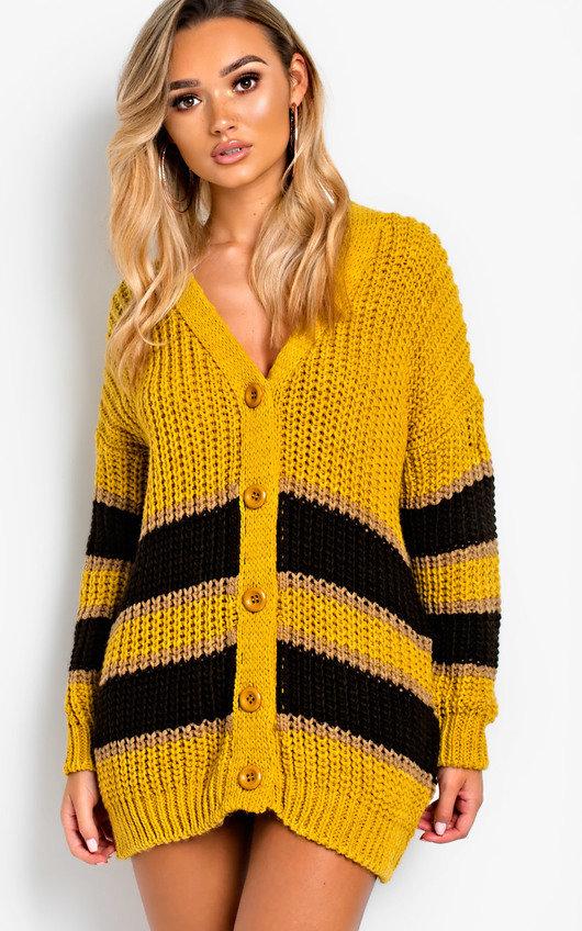 Rhianne Chunky Knit Striped Cardigan