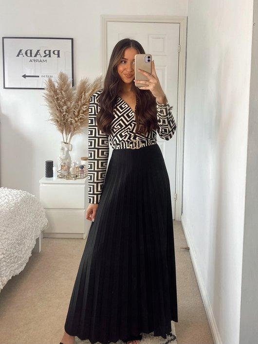 Rhona Pleated Maxi Dress with Print Detail