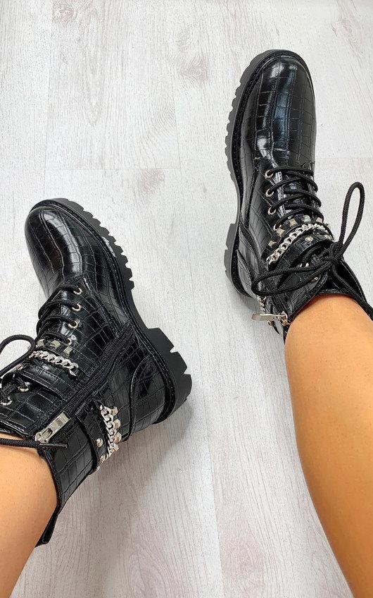 Ricki Croc Print Lace Up Biker Boots