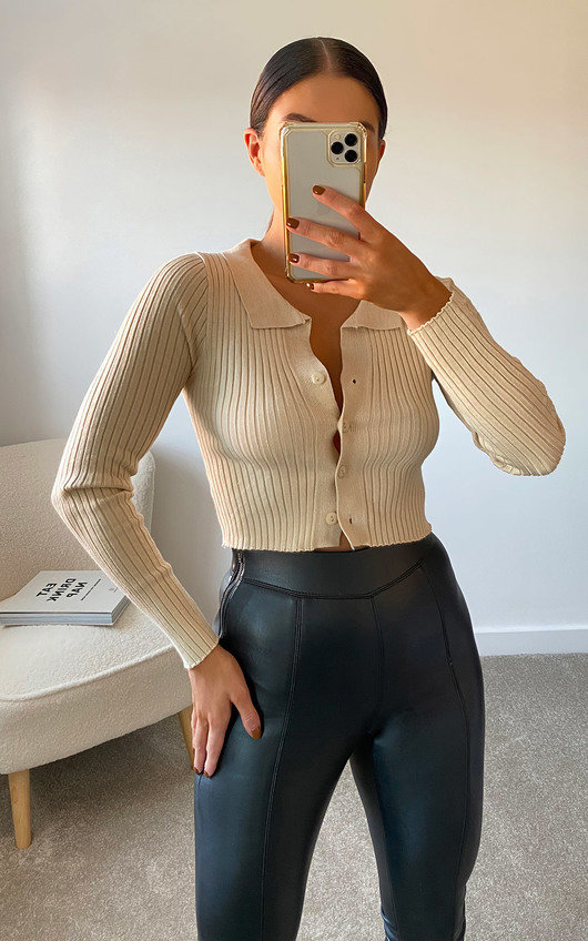 Riley Button Up Ribbed Top