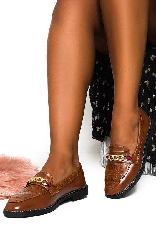 Riley Faux Leather Chain Brogue Flats
