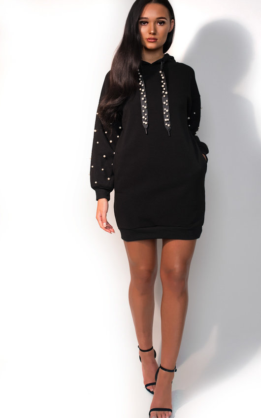 85fbf68012 Riley Pearl Embellished Jumper Dress in Black