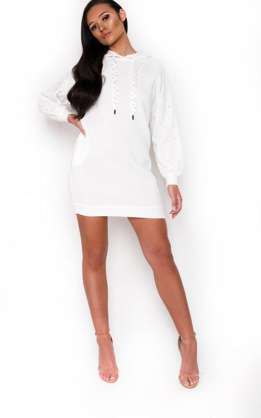 bf3968eedb Riley Pearl Embellished Jumper Dress in White
