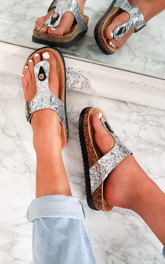 Rissa Sequin Cork T-Bar Sandals