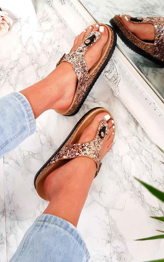 Rissa Sequin Cork T-Bar Sandals