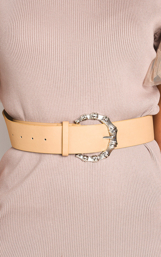 Rita Faux Leather Round Buckle Belt