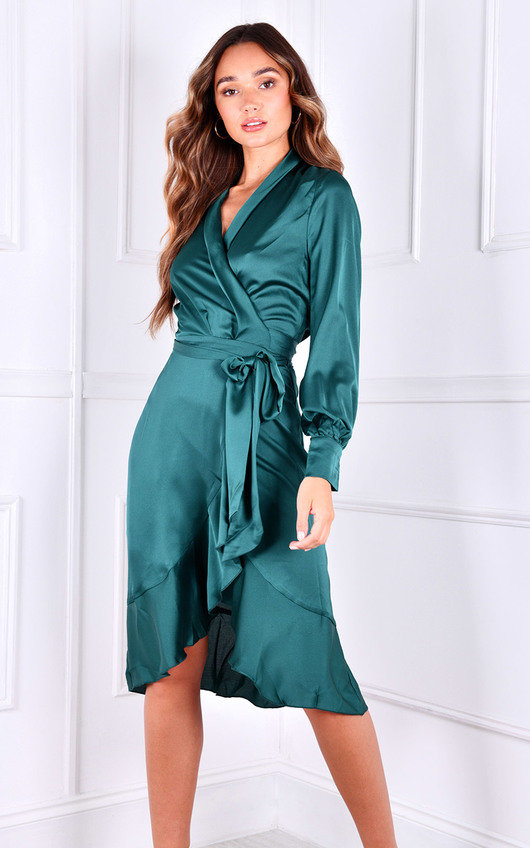 River Long Sleeve Wrap Midi Dress