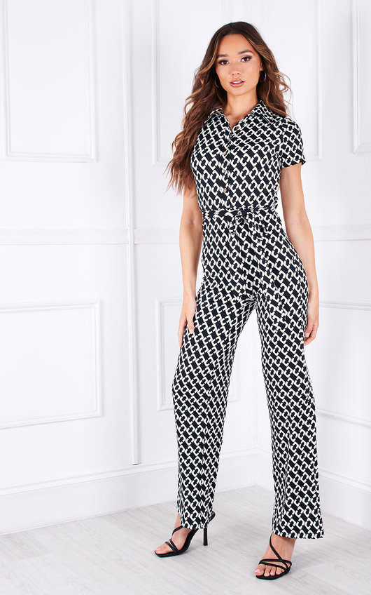Bendall Wide Leg Printed Collared Jumpsuit
