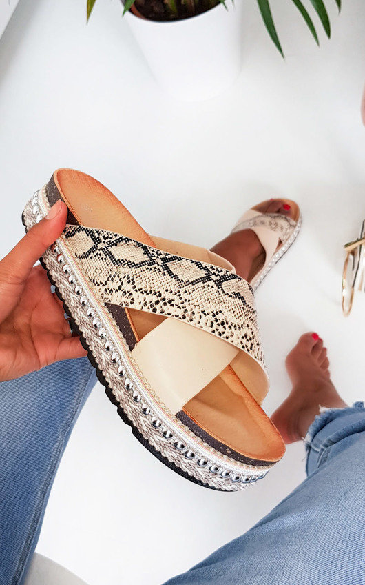 Rix Studded Snake Print Flatform Sandals