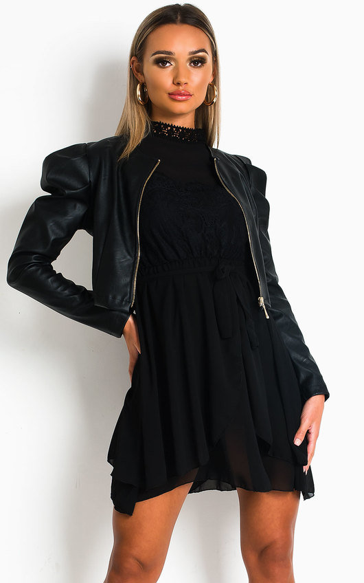 Robyn Faux Leather Puff Sleeve Jacket