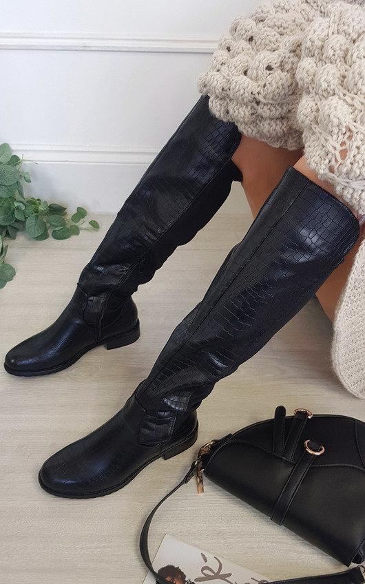 Rochelle Croc Print Knee High Boots