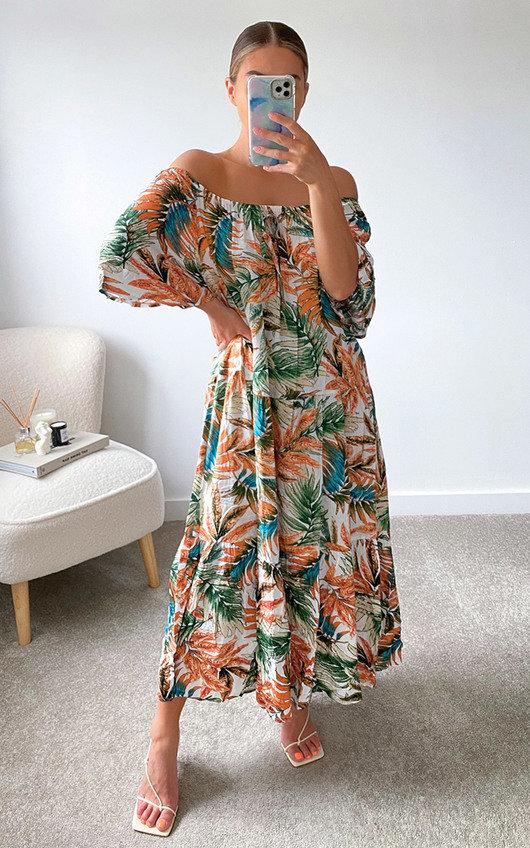 Rocki Off Shoulder Floral Maxi Dress in Plus Size