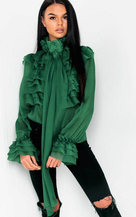 19b4067a1069e Roisin Ruffle Tie Neck Blouse in Green