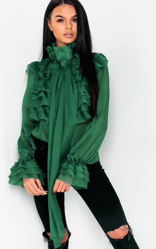bb0db306f2a92d Roisin Ruffle Tie Neck Blouse in Green | ikrush