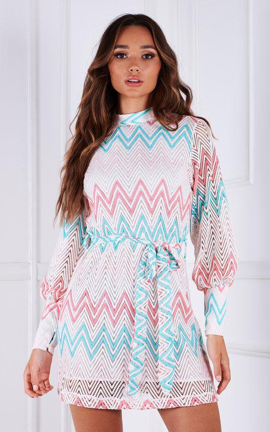 Roma Crochet Printed High Neck Tie Waist Mini Dress