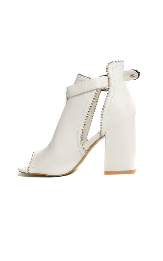 63d6449fe38e Ronnie Cut Out Block Heel Boots in White