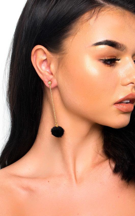 Ronnie Drop Pom Earrings in Black