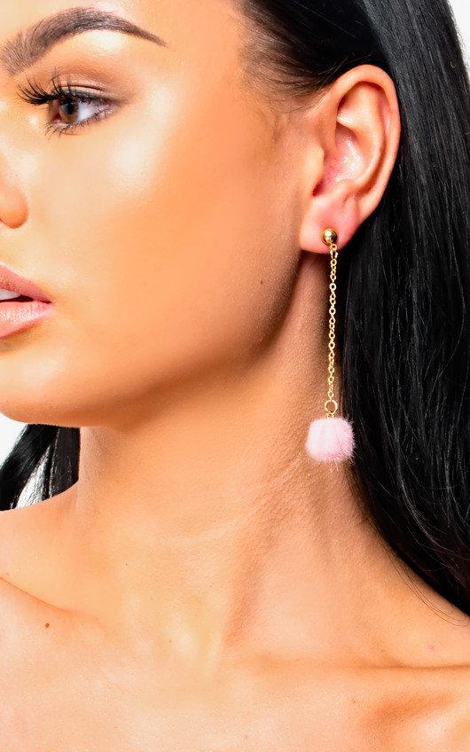 Ronnie Drop Pom Earrings in Pink