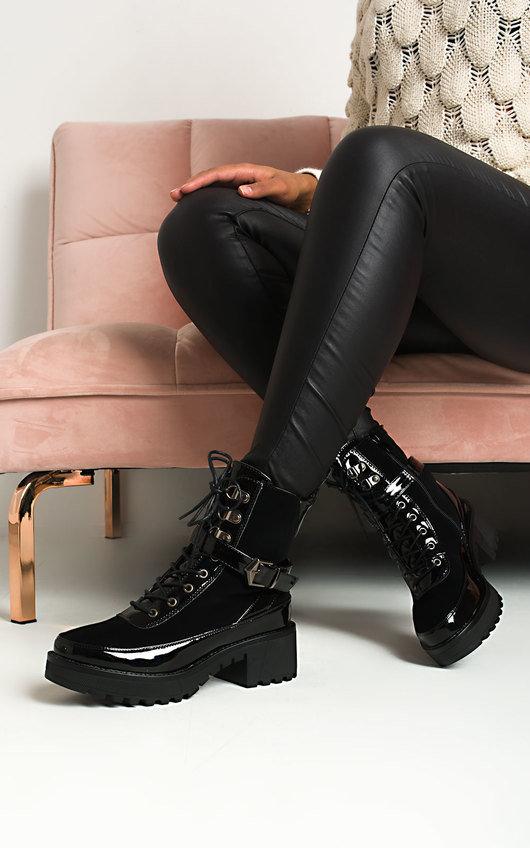Rosa Buckle Lace Up Biker Boots