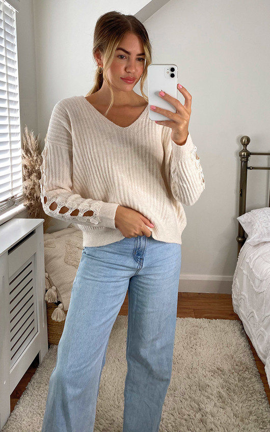 Rosalea Knitted Jumper with Cut Out Detail