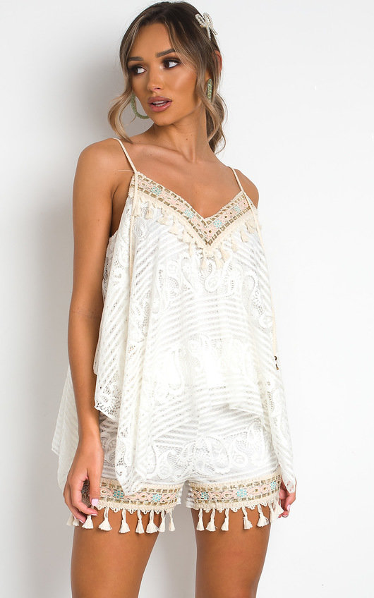 Rose Lace Embellished Top & Shorts Co-Ord