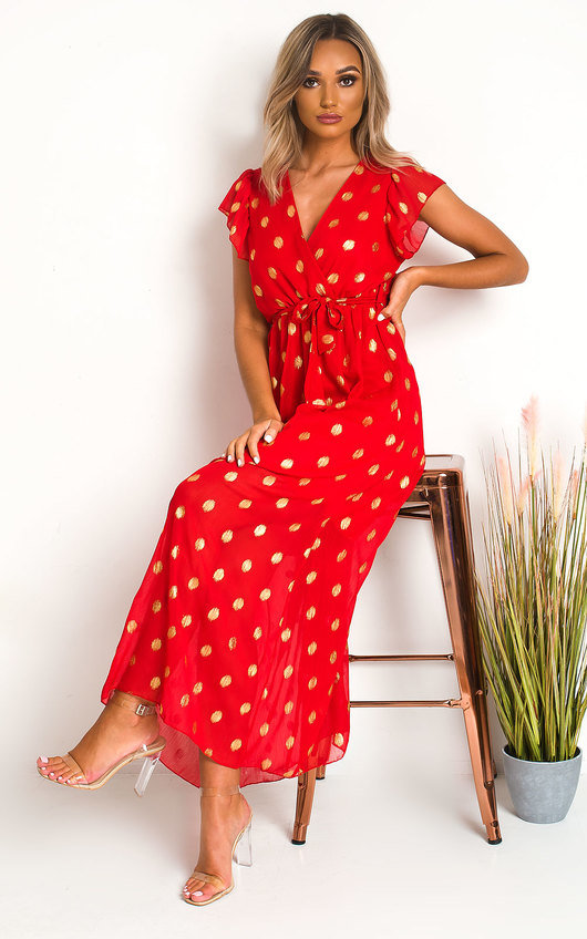 Rosi Polka Dot Maxi Dress