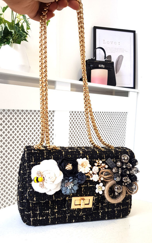 Rosie Flower Embellished Tweed Shoulder Bag