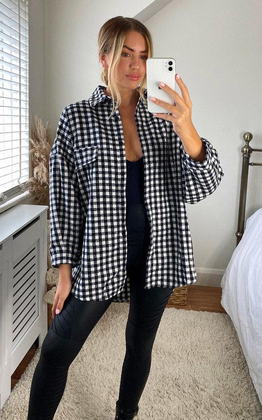 Roxana Checked Button Up Oversized Shirt