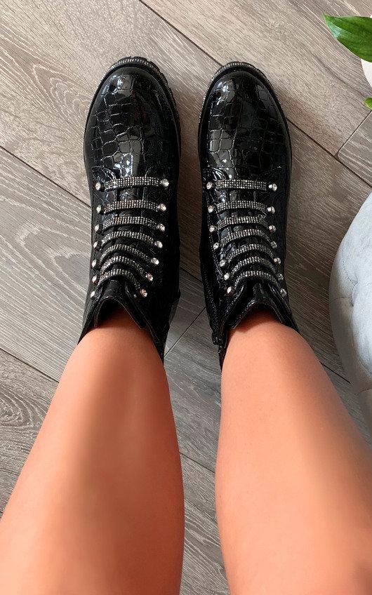 Roxanne Croc Print Diamante Biker Boots