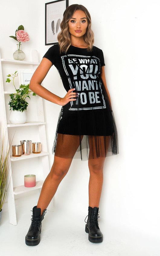 Roxanne Slogan Tulle T-Shirt Dress