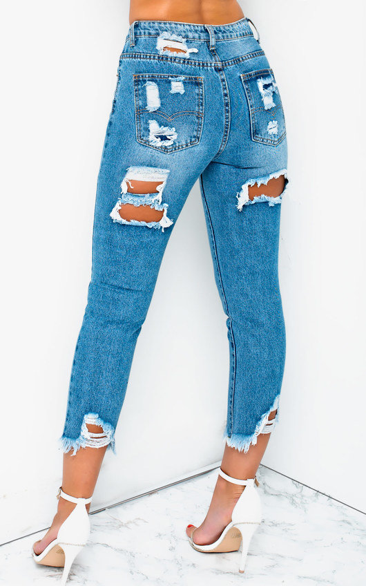 Roxi Ripped Back Pocket Crop Jeans