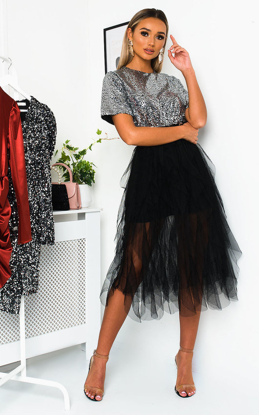 Roxi Tulle Sequin Midi Dress