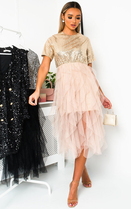 Roxi Tulle Sequin Midi Dress