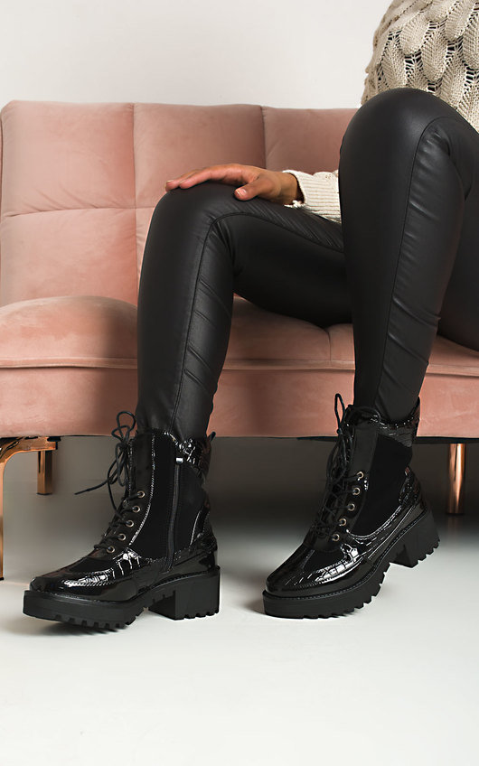 Roxie Buckle Lace Up Biker Boots