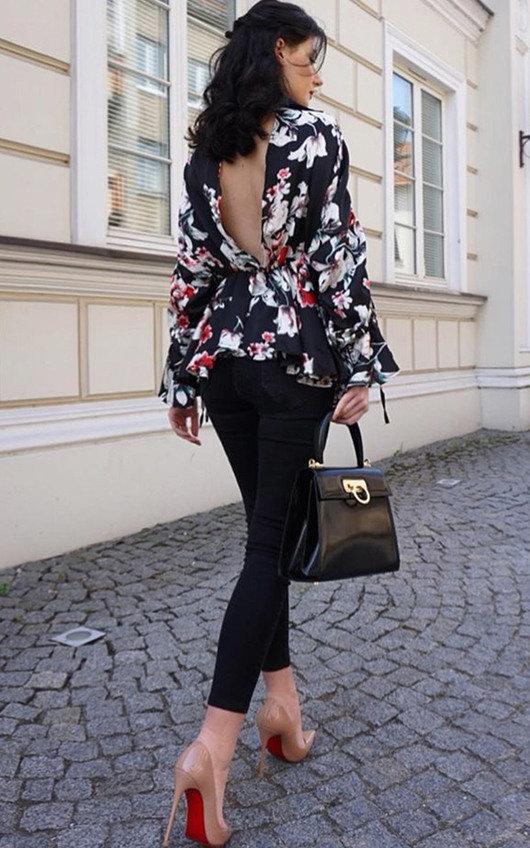 Rozz Floral Peplum Blouse