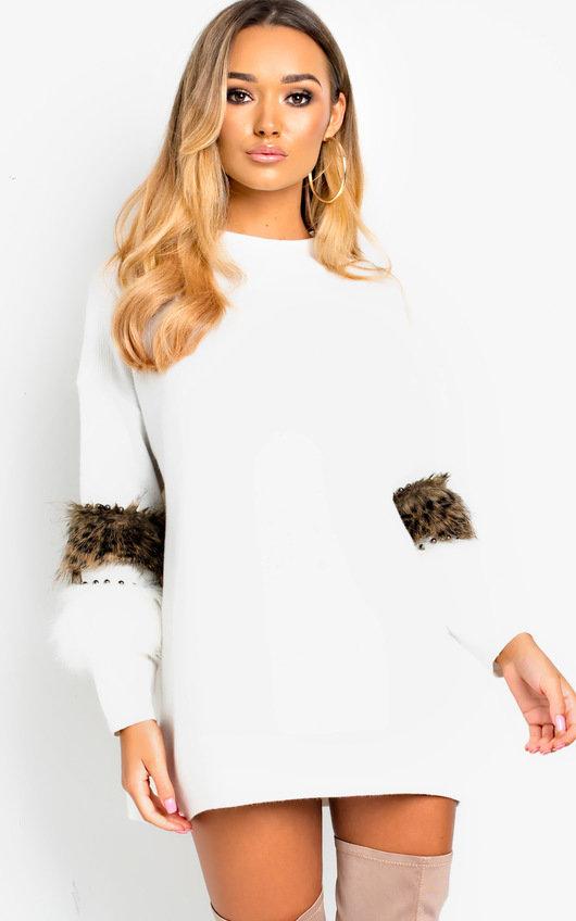 Rubie Faux Fur Embellished Jumper Dress