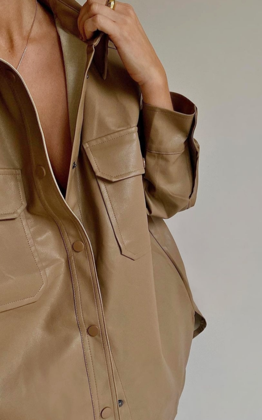 Ruby Faux Leather Shirt Jacket