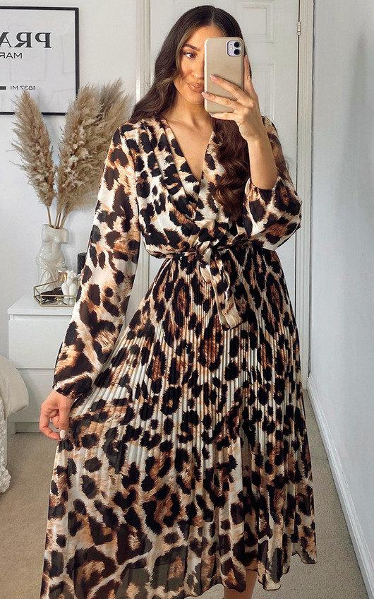 Ruby Pleated Leopard Print Maxi Dress